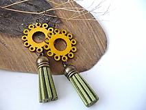 Náušnice - drevené folk náušnice-slnečné - 10228064_