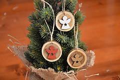 Dekorácie - Drevené ozdoby na stromček - anjel (červený, zlatý a biely) sada 3ks - 10231080_
