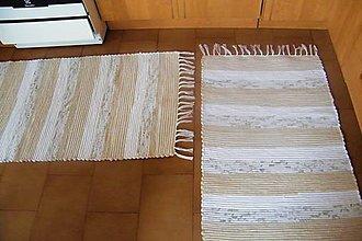 Úžitkový textil - Tkané koberce bielo-hnedé - 10228507_