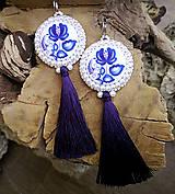 Náušnice - Folk náušnice s modrým oranamentom - 10227945_