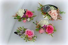 Ozdoby do vlasov - Ružový set na želanie - 10231437_