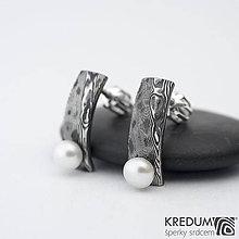 Náušnice - Náušnice nerezová ocel damasteel - Natura s perlou - SK1484 - 10232389_