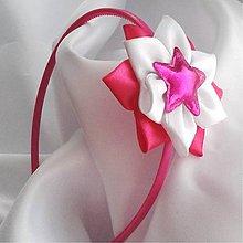 Detské doplnky - Čelenka ružovo- biela s hviezdičkou - 10234393_