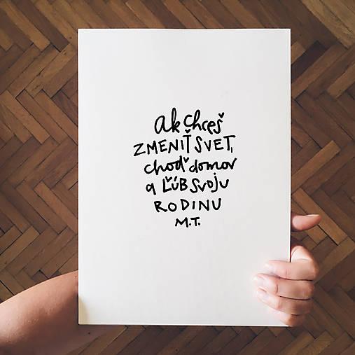 Ľúb svoju rodinu - typografia
