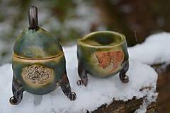 Nádoby - Soľnička a korenička, zelené, medienkové, minimalistické :o)). - 10232838_