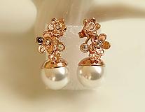 Náušnice - perlové, svadobné, ružové zlato - 10232825_