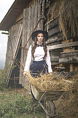 Iné doplnky - Dámsky ČIERNY folk set traky z gumy a extra vystužený motýlik - 10234787_