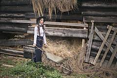 Iné doplnky - Dámsky ČIERNY folk set traky z gumy a extra vystužený motýlik - 10234788_