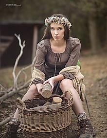 Ozdoby do vlasov - Jesenný kvetinový boho venček s bielym hroznom - 10234789_