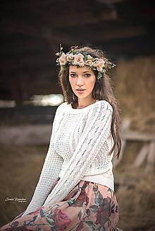 Ozdoby do vlasov - Svadobný kvetinový venček - 10234873_