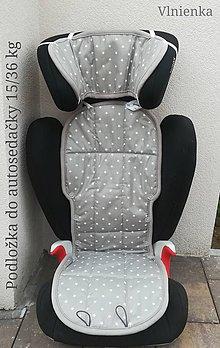 Textil - Podložka do autosedačky 9 - 36 kg 100% Merino proti poteniu a prechladnutiu CYBEX PALLAS S-FIX a ROMER Hviezdička šedá - 10234256_