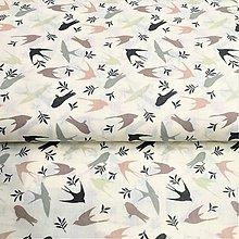 Textil - lastovičky, 100 % bavlna, šírka 140 cm - 10231498_
