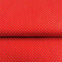 Textil - červené minibodky, 100 % bavlna, šírka 140 cm - 10232481_