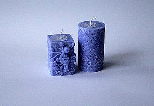 Svietidlá a sviečky - Sada sviec  - modrá - 10234978_