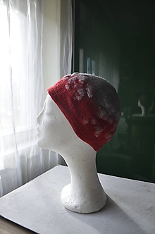 Čiapky - Čiapka šedočervená skladaná... - 10232828_