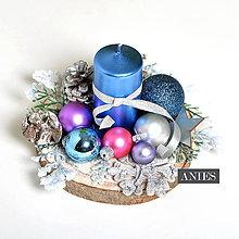 Dekorácie - Vianočný svietniček - strieborno modré tóny. - 10231316_