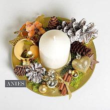 Dekorácie - Vianočný svietnik - zlato prírodný. - 10231326_