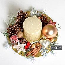 Dekorácie - Vianočný svietnik - zlato červený Natur. - 10231332_