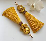 Náušnice - Ručne šité šujtášové náušnice / Soutache earrings - Swarovski  (Miriam - horčicová/bronz) - 10232740_
