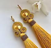 Náušnice - Ručne šité šujtášové náušnice / Soutache earrings - Swarovski  (Miriam - horčicová/bronz) - 10232741_