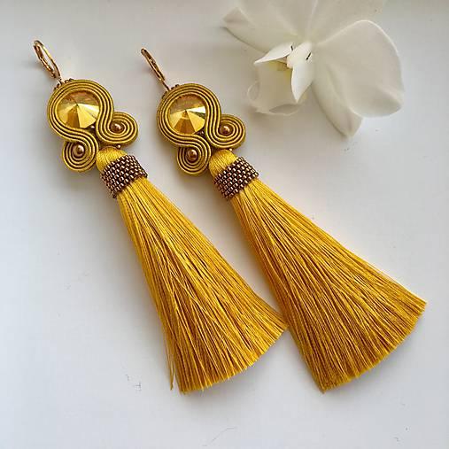 Ručne šité šujtášové náušnice / Soutache earrings - Swarovski  (Miriam - horčicová/bronz)