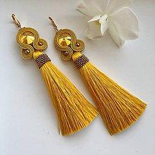 Náušnice - Ručne šité šujtášové náušnice / Soutache earrings - Swarovski  (Miriam - horčicová/bronz) - 10232742_