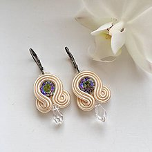Náušnice - Ručne šité šujtášové náušnice / Soutache earrings - Swarovski®️crystals (Lili - paradise sunshine/béžová - mini) - 10232811_