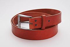 Opasky - Kožený pásek 4 cm- ryzák tmavý -tečky- SKLADEM - 10231408_