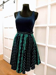 Sukne - Zelená modrotlačová sukňa - 10234842_