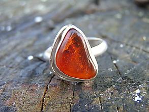 Prstene - Strieborny prsteň Ag925 Jantár - 10233186_