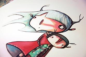 Kresby - Dievčinka so srnčími parôžkami - 10231403_