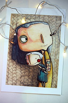 Kresby - Dievča s kerkami - 10232689_