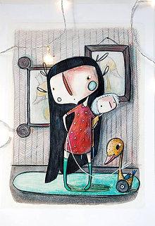 Kresby - Obrázky izbietkové - Mona s kačkou - 10233772_