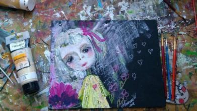 Obrazy - Dievčatko s kvetom - 10231923_