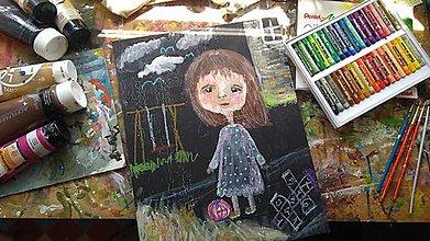 Obrazy - Dievčatko s loptou - 10231945_