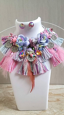 Náhrdelníky - Pastelovy boho náhrdelník s nausnickami - 10234513_