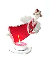 Svietidlá a sviečky - svietnik anjel čerevný - 10231855_