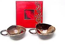 Nádoby - šálka červeno kovová - 10231896_