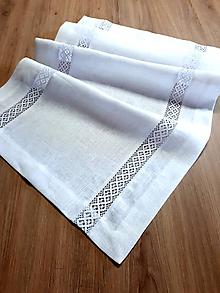 Úžitkový textil - Ľanová štóla biela s krajkou - 10233243_