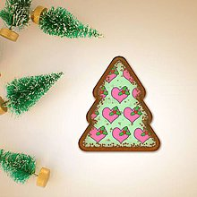 Dekorácie - Vianočné grafické perníky so vzorom - srdiečko a cezmína - 10233312_
