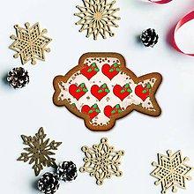 Dekorácie - Vianočné grafické perníky so vzorom stracciatella - srdiečko a cezmína (kapor) - 10233313_