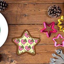 Dekorácie - Vianočné grafické perníky so vzorom stracciatella - srdiečko a cezmína (hviezdička) - 10233316_