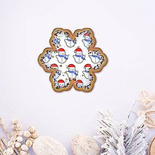 Dekorácie - Vianočné grafické perníky so vzorom stracciatella - snehuliak - 10233344_