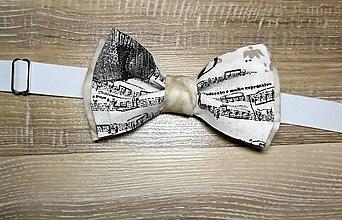 Iné doplnky - pánsky motýlik - noty - 10236930_