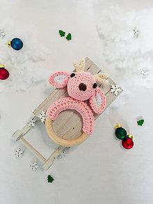 Hračky - háčkovaná hrkálka Jelenček ružový - 10237134_