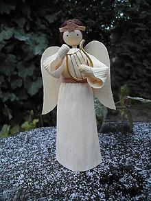 Dekorácie - Anjel s lýrou - 10236153_