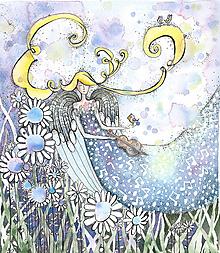 Kresby - anjel a vtáča - 10235028_
