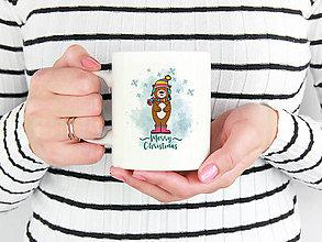 Nádoby - Hrnček Merry Christmas so zvieratkom - 10238288_