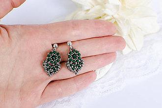 Náušnice - šité náušnice MINI KVAPKY (smaragdová - Ag 925) - 10238471_