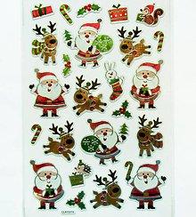 Papier - Sada samolepiek, 14x21 cm, Vianoce, metalické, dedo mráz - 10235609_